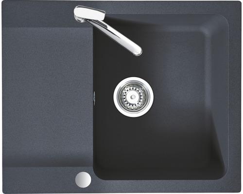 """Spüle Eurodomo Capri 45S Eurostone granit-graphit inkl. Siebkorb-Stopfenventil 3 ½"""""""