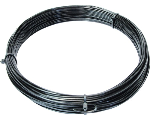 Fil de fer revêtu de plastique, noir, 3,8 mm, 25 m-0