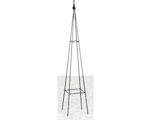 Obélisque pour plantes grimpantes Levin métal 17x17x90 cm noir