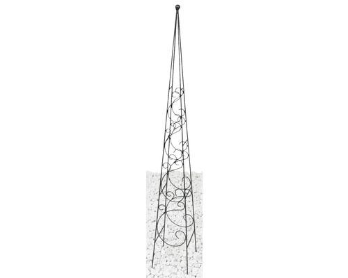 Obélisque pour plantes grimpantes Fidelis métal 17x17x120 cm noir