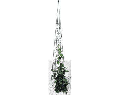 Obélisque pour plantes grimpantes Fidelis métal 22x22x150 cm noir