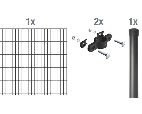 Set de montage de grillage à barre simple 200 x 100 cm, anthracite