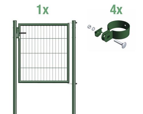 Portail à un vantail en grillage à barreaux 100 x 100 cm, vert