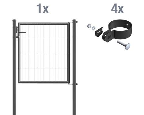Portail à un vantail en grillage à barreaux 100 x 100 cm, anthracite