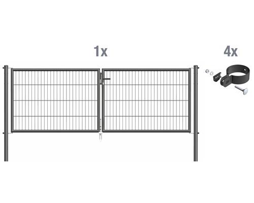 Portail à deux vantaux en grillage à barreaux 298,8 x 100 cm, anthracite