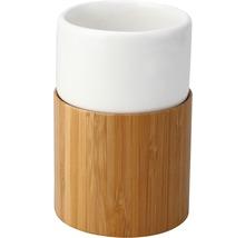Gobelet pour brosses à dents basano Curetta céramique avec bambou-thumb-0