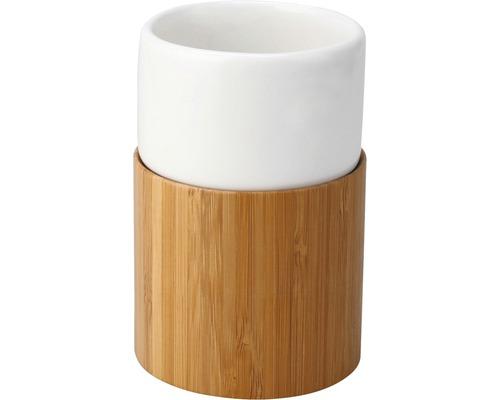 Gobelet pour brosses à dents basano Curetta céramique avec bambou-0