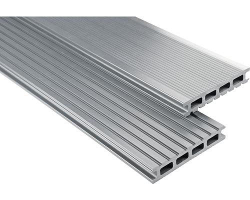 Kit de planches pour terrasse en PVC Konsta gris 9m² comprenant planches pour terrasse en PVC, soubassement et matériel de montage