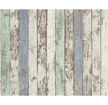 Papier peint intissé 95914-1 Wood´n & Stone clôture bleu vert-thumb-0