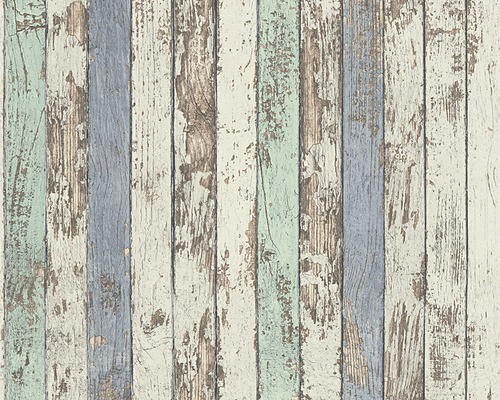 Papier peint intissé 95914-1 Wood´n & Stone clôture bleu vert-0