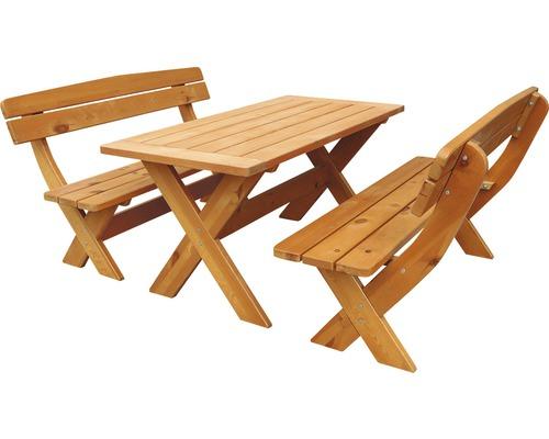 Set de meubles de jardin Bavaria 6 places comprenant: table, 2x bancs en bois brun