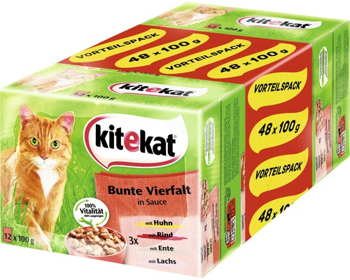 Nourriture humide pour chats, Kitekat variété multicolore 48x100g-0