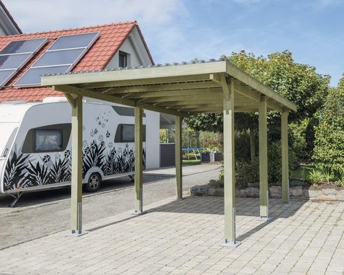 Carport pour véhicule Vertika toit aluminium 301x504 cm traité en autoclave par imprégnation