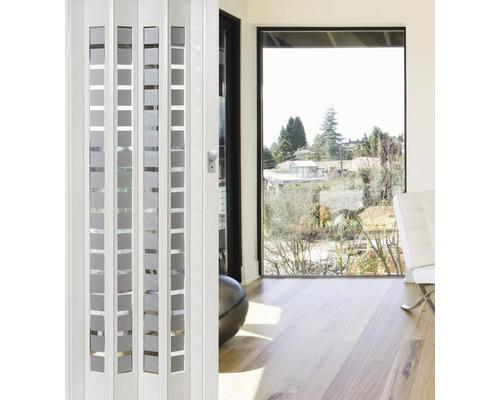 Porte accordéon blanche 205x86cm verre carreau blanc satiné