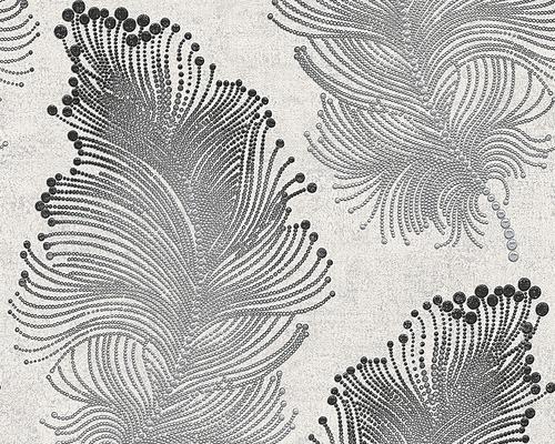 Papier peint intissé motif plume gris blanc - HORNBACH Luxembourg