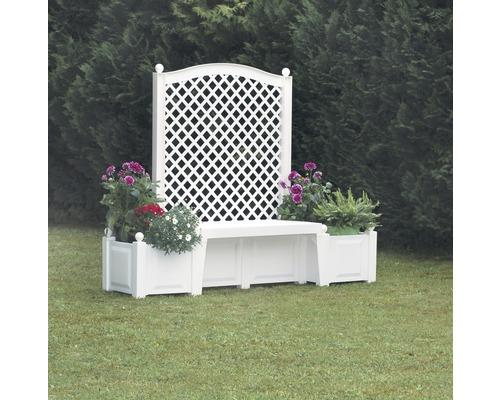 Banc de jardin kopenhagen plastique 2 places blanc for Banc de jardin en plastique