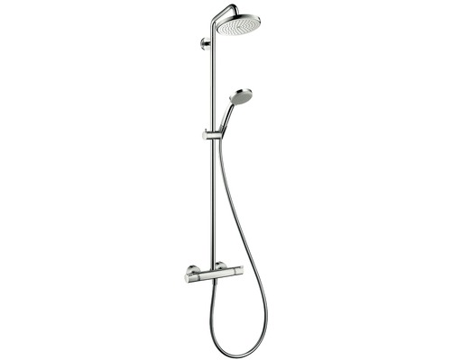 Duschsystem hansgrohe Croma Showerpipe 220 1jet 27185000 chrom mit Thermostat