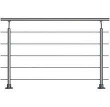 Geländer-Komplettset Pertura Aluminium mit fünf Edelstahlstäben für Bodenmontage B: 1.50 m