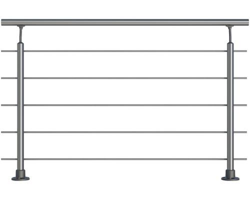 Set complet de balustrade Pertura en aluminium pour montage au sol avec cinq barres en acier inoxydable (20)