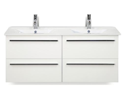 Ensemble de meubles de salle de bains Seville 120 cm avec double vasque céramique blanc à haute brillance 81708901-0