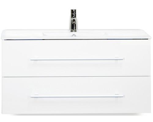 Kit de meubles de salles de bain Stretto blanc haute brillance 100x195cm