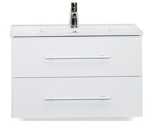 Ensemble de meubles de salle de bains Stretto blanc haute brillance 80x40cm, 2 tiroirs et lavabo