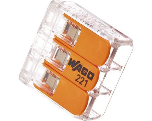 Borne de raccordement Compact 221 3 conducteurs 10 pièces 221-413 Wago
