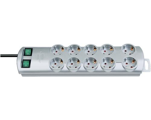 Bloc multiprise 10 emplacements, avec interrupteur Primera-Line 3G1,5, argent, 2m