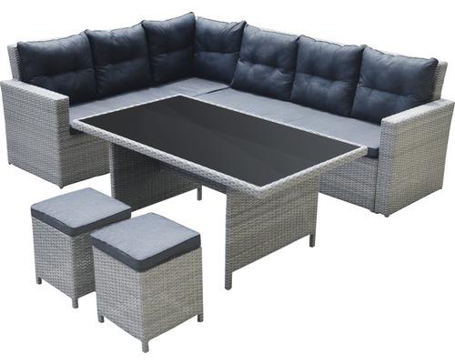 Interessant Dining/Lounge-Set Kansas Polyrattan 8-Sitzer 5-teilig grau  TJ24