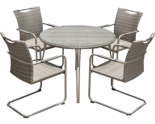 Gartenmöbel-Set Dacosta Polyrattan 4-Sitzer 5-teilig beige ...