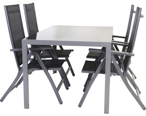 Gartenmöbel-Set Palermo Textilgewebe 4-Sitzer 5-teilig schwarz ...