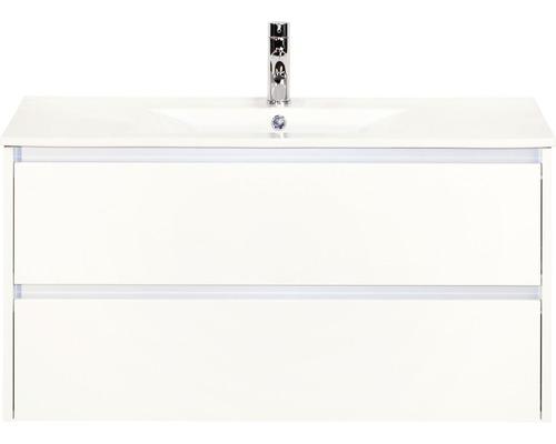 Ensemble de meubles de salle de bains Dante 101x52 cm blanc haute brillance