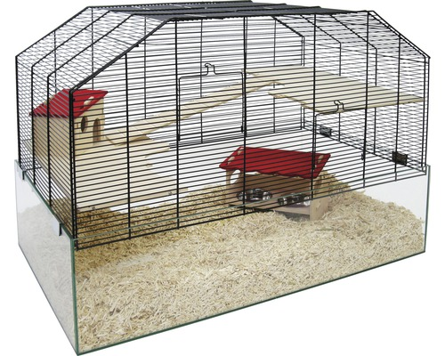 Cage pour rongeurs Figo 75x45x52 cm, noir