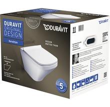 Kit de WC suspendu sans bride de rinçage DURAVIT Durastyle Rimless blanc avec abattant WC SoftClose et fixation dissimulée 45510900A1-thumb-3