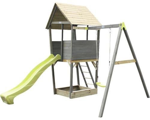 Tour de jeux EXIT Aksent bois avec bac à sable, balançoire simple, toboggan vert