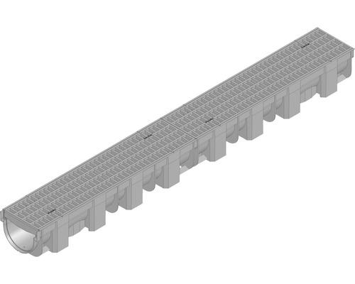 TOP X avec grille à mailles encastrée noire 1m