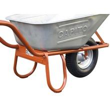 CAPITO Profi Tiefmuldenkarre EUROCAR 100 Liter Tiefmulde, Lufträder mit Blockprofil und Stahlfelge inkl. ergonomische Buchenholzgriffe-thumb-4