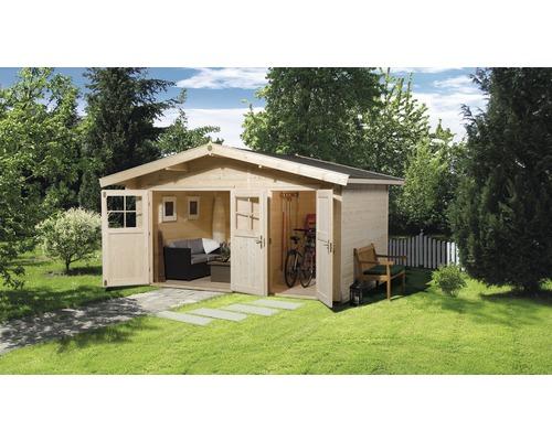 Abri de jardin weka avec plancher et espace outils, 400x235cm, nature