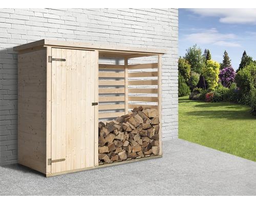 Kaminholzunterstand weka Brennholzlager 663 inkl. Geräteraum 240x90 cm natur