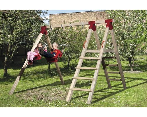 Balançoire double Nanni avec portique d''escalade