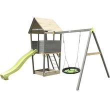 Tour de jeux EXIT Aksent bois avec balançoire nid d'oiseau, bac à sable, toboggan vert-thumb-0