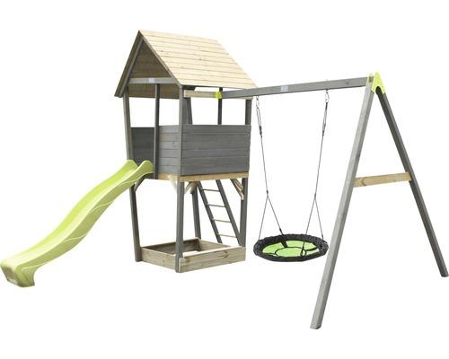 Tour de jeux EXIT Aksent bois avec balançoire nid d'oiseau, bac à sable, toboggan vert-0