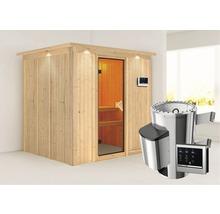 Sauna Plug & Play Karibu kit économique Maria avec poêle 3,6 kW, commande extérieure et frise de toit-thumb-0
