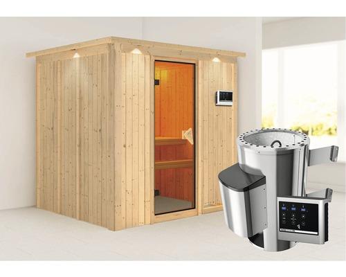 Sauna Plug & Play Karibu kit économique Maria avec poêle 3,6 kW, commande extérieure et frise de toit-0