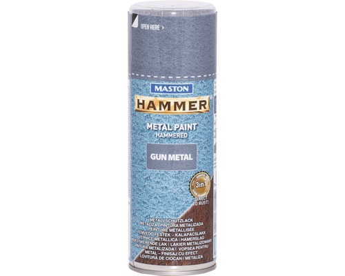 Peinture aérosol Maston Hammer Gun metal protection métal gris 400 ml