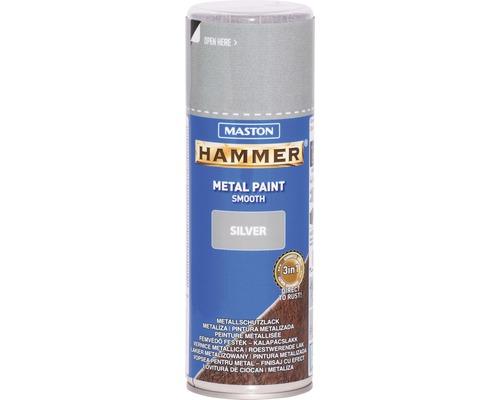 Spray de protection pour métaux Maston Hammer lisse argent 400 ml