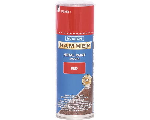 Spray de protection pour métaux Maston Hammer lisse rouge 400 ml
