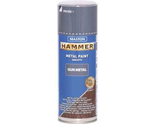 Peinture aérosol Maston Hammer Gun metal smooth protection métal gris 400 ml