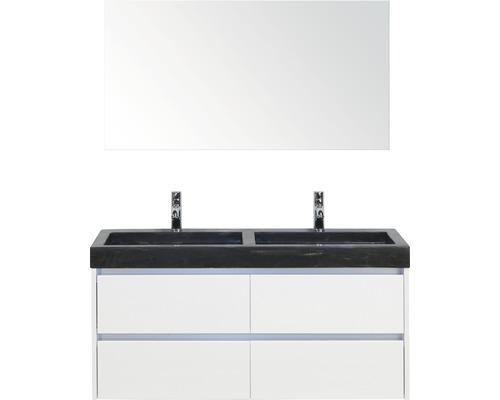 Ensemble de meubles de salle de bains Dante 121x170 cm blanc haute brillance avec miroir-0