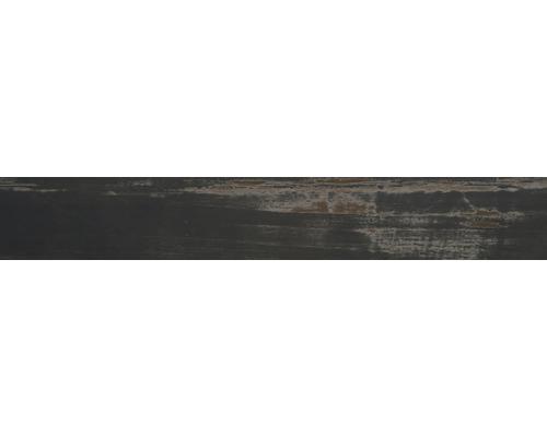 Carrelage de sol en grès-cérame fin Skagen noir émaillé 14.1x88cm
